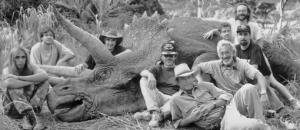 Animatronic triceratops with crew