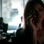 Karen talking on the phone with Claire