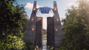 The main gates to the Jurassic World theme park.